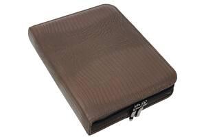 Папка деловая формата А5 Portfolio коричневая под кожу змеи