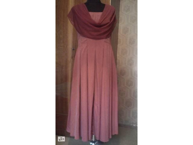 купить бу Платье вечернее ручной работы с контрастным несъёмным шарфом. Размер М в Одессе