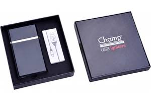 Портсигар+зажигалка Champ Cigarette Case+USB Igniter  40400317bl черный