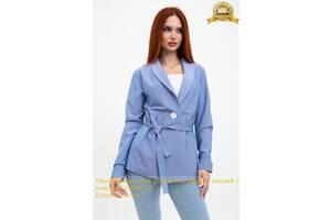 Пиджак женский расцветка джинс, летний с поясом 115R363-5