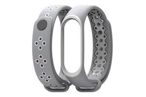 Ремешок для фитнес браслета Xiaomi Mi Band 3 и 4, Gray with white
