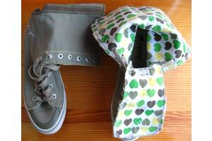 Roxy рокси кеды ботинки мокасины, зелёные высокие, 40 р. 26