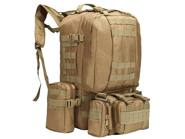 бу Рюкзак тактический с подсумками A08 50 л, песочный в Харкові