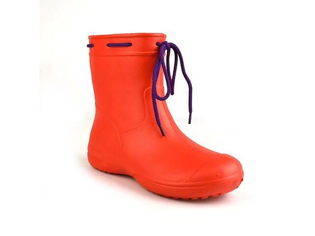 купить бу Сапоги женские резиновые EVA Jose Amorales с шнуровкой 40 р Красный (joa_119220_5) в Киеве