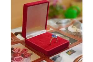 Серебряные (925 пробы) серьги и кольцо с голубым цирконием и белыми