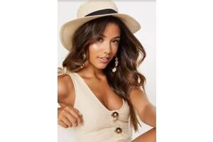 Шляпа соломенная женская канотье летняя от солнца