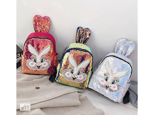купить бу Сказочный рюкзак в пайетках с мордочкой и ушками Зайца Хамелеон золотой  в Украине