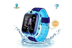 Смарт-часы KID Watch Детские Умные часы GPS+WiFi с влагозащитой IP67 Синие с голубым