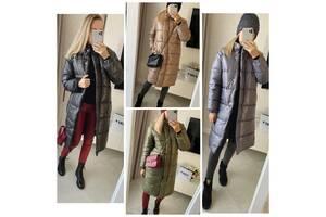 Стильне жіноче пальто зимове без капюшона на силіконі прямого крою комір стійка 4 кольори