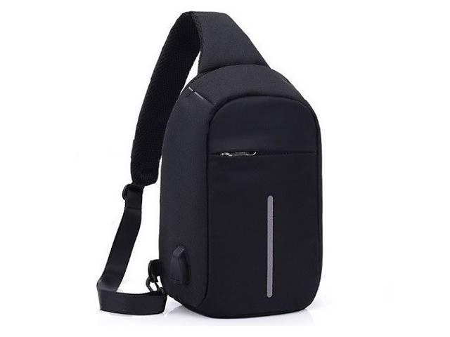 купить бу Сумка антивор через плечо водонепроницаемая USB-рюкзак светоотражатели Kronos Top 1702 черная (gr_009391)  в Украине