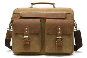 Сумка-портфель мужская текстильная с кожаными вставками Vintage 20003 Рыжая
