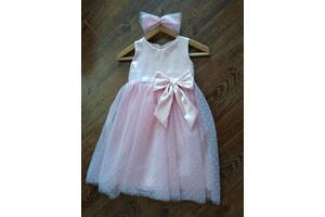 Святкова сукня з сеткой флок + бант