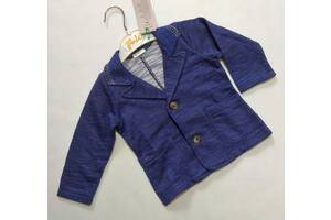 Синий меланжевый пиджак Benetton р. 9-12 мес