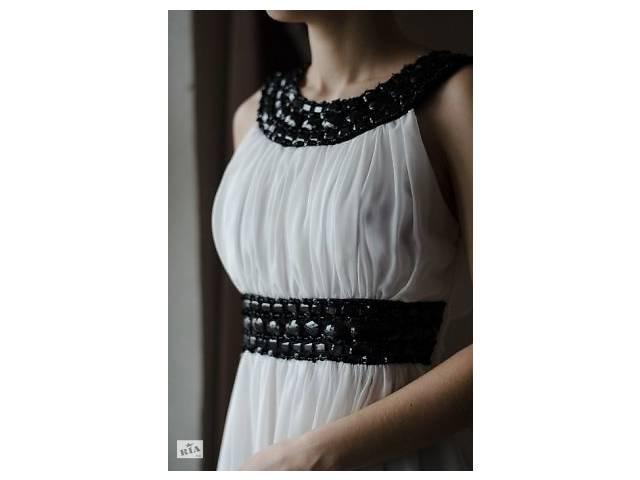 купить бу Вечірнє плаття в грецькому стилі розшите чорними камінням  туреччина celo в Запоріжжі f4c03c0884537