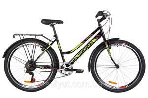 """Велосипед 26"""" Discovery PRESTIGE WOMAN 14G Vbr St з багажником зад St, з крилом St 2019 (чорно-салатовий з малиновим)"""
