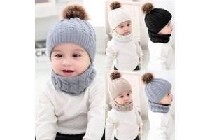 В'язаний теплий дитячий набір Шапка і шарф-хомут