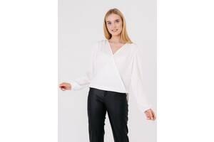 Женская блуза на запах 2352-XL белая