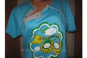 Женская ночная рубашка ДЛЯ КОРМЛЕНИЯ, 100% хлопок пр-во Узбекистан, размер 58-60, разные цвета