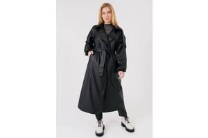Женское треч-пальто с трендовыми рукавами кожаной фактуры Bessa 7286-M черное
