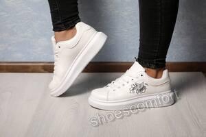 Женские белые кроссовки, кеды в стиле Alexander McQueen. Размеры 36 - 40.