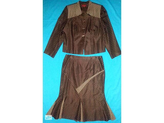 купить бу Женский костюм двойка - жакет, юбка, коричневый в Одессе