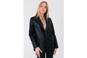 Женский структурированый кожаный пиджак с карманами Bessa 6577-M черный