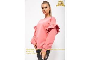 Женский свитшот с воланами цвет Розовый 102R074