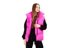 Жилетка женская длинная безрукавка демисезонная Zefir матовая розовая SKL59-290678