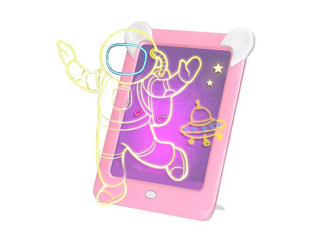 продам Детская магическая 3D доска для рисования Magic Board Drawing Pad Pink с подсветкой трафаретами на присосках (3699-11... бу в Киеве
