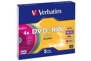 Диск DVD Verbatim 4.7Gb 4x SlimCase 5шт Color (43297)