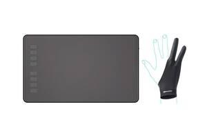 """Графический планшет Huion Inspiroy H950P с перчаткой 10"""" Черный (H950P)"""