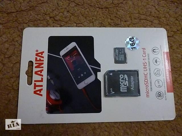 Карта памяти ATLANFA 16 GB microSD+ SD adapter - объявление о продаже  в Житомире
