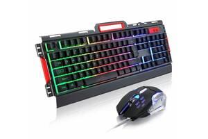 Комплект игровая проводная клавиатура с мышкой FlyBe K33 LED подсветка и переключателем DPI USB