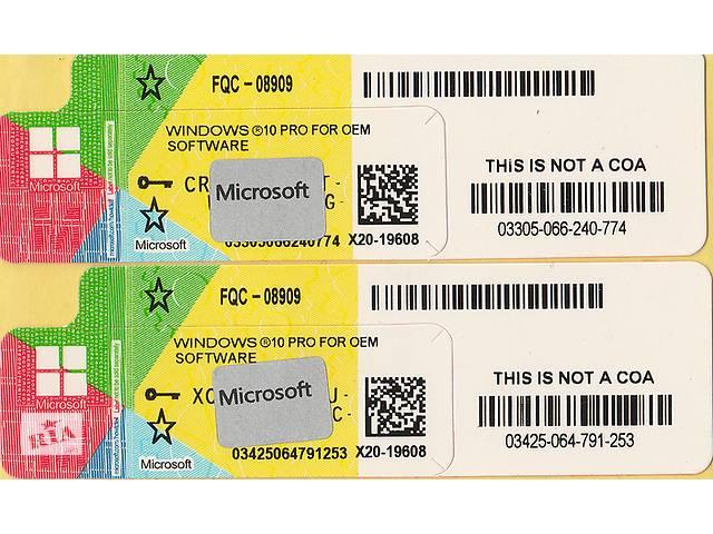 купить бу Ліцензійні наклейки Microsoft Windows 10 Professional 64-bit RUS OEM-версія (FQC-08909) в Чернівцях