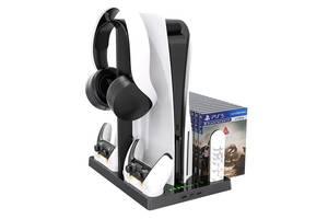 Мультифункциональная вертикальная подставка iPlay для PlayStation 5 с охлаждающими вентиляторами и зарядкой для 2-х к...