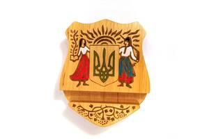 Подставка держатель под телефон смартфон планшет Герб Украины 10х12х2 см Мастерская мистера Томаса дерево лак