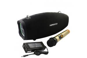 Портативная Bluetooth колонка Hopestar H1 Party+микрофон+блок питания 15V3A акустическая система с подсветкой Черный