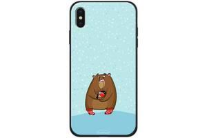 TPU+PC чехол Epik для Apple iPhone XS Max Медведь и снегирь (788567)