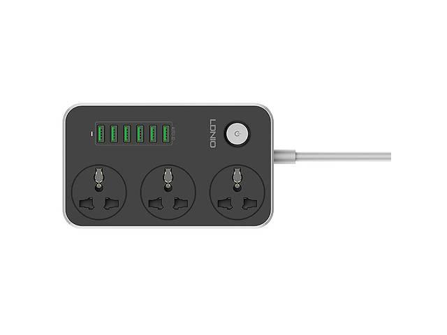 продам Удлинитель сетевой с выключателем Ldnio SE3604 6 USB 3 розетки 1.6 м Черный (gr_014703) бу в Киеве