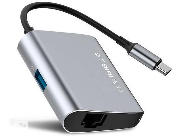 купить бу USB-хаб Baseus Enjoyment series Type-C to RJ45+USB3.0 HUB Adapter Gray (CATSX-B0G) в Киеве