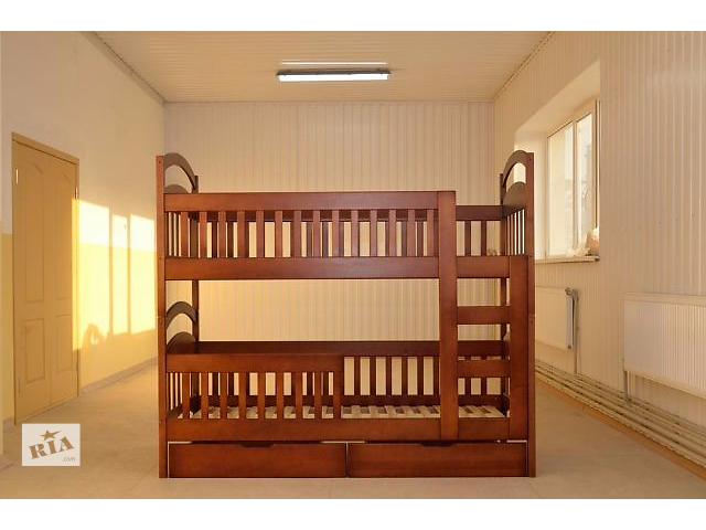 купить бу Элитная двуъхярусная кровать детская трансформер Карина Люкс 1-ый сорт от производителя, деревянная кровать дешево новая в Киеве