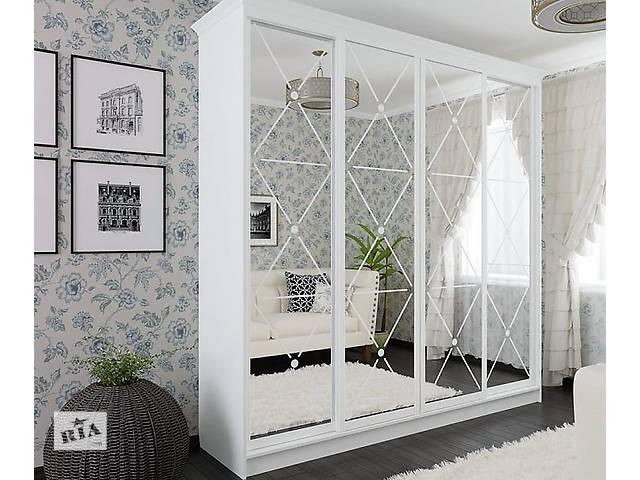 купить бу Белый классический шкаф-купе с белым декором в Киеве