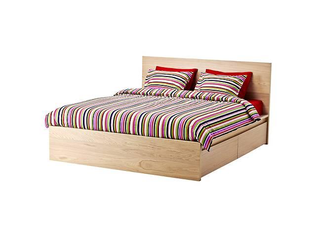 бу Каркас двуспальной кровати IKEA MALM 180 x 200 см Дубовый шпон беленый (490.274.23) в Києві