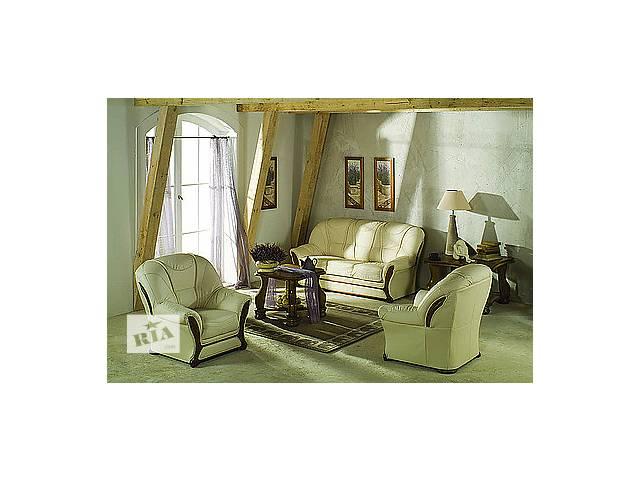 продам Новый комплект; кожаный диван и кресло Sofia. Фабричное производство. Европа. Кожаная мебель, набор. бу в Луцке