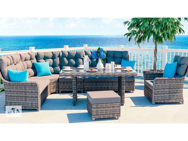 продам Садовый комплект мебели угловой диван стол, пуф и кресло EMMA DINING L бу в Львове