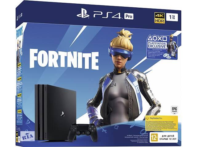 бу Игровая приставка Sony PlayStation 4 Pro 1TB Black (CUH-7208B)Bundle + Fortnite (код на скачивание предметов) в Луцке
