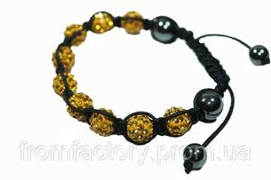 Браслет Шамбала (кружки Ø10мм):Желтый