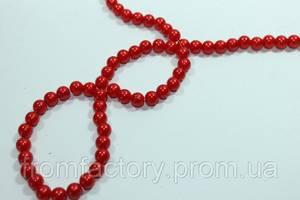 Бусы пластмассовые на колье (Ø8/100см):Красный