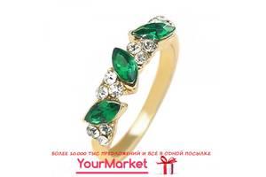 Кільце BLUELANS колір золото камені смарагдового кольору стрази