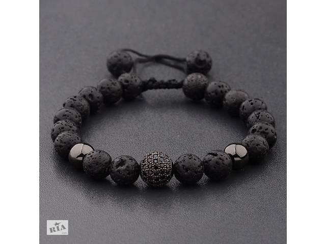 купить бу Мужской каменный браслет mod.Sfera черный в Харькове